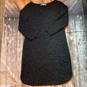 LOFT Gray Blue Leopard Print Sweater Dress